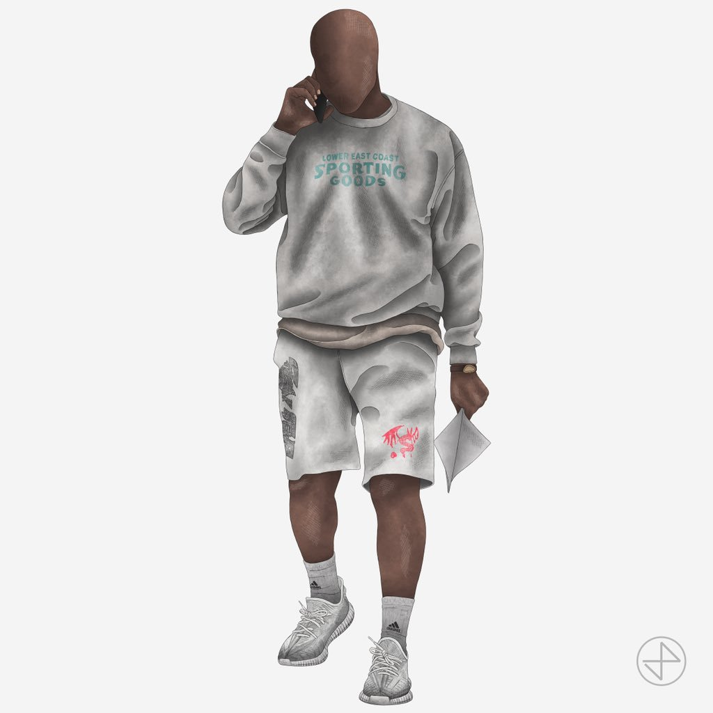 """#YEEZYFITOFTHEWEEK is ye wearing his favorite Lower East Coast Sporting Goods Sweatshirt and STRAY RATS """"Dragon Jammer"""" Shorts with the """"Static"""" 350 V2 sketched by our brother @JordanPrileszky ✏️⚡️"""
