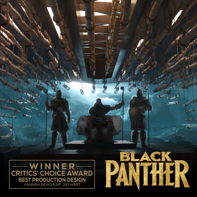Congratulations to #BlackPanther on its #CriticsChoiceAwards win for Best Production Design Foto
