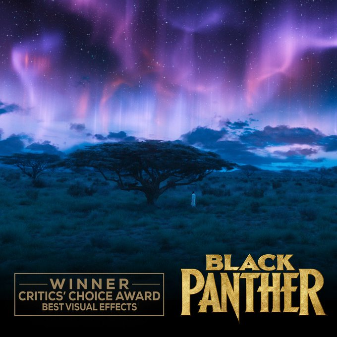 Congratulations to #BlackPanther on its #CriticsChoiceAwards win for Best Visual Effects. Foto