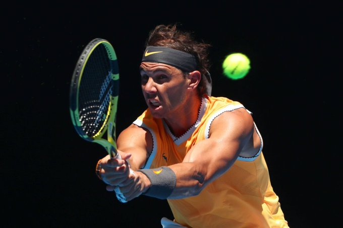 Rafael Nadal during his first round match against James Duckworth of Australia during day one of the 2019 Australian Open at Melbourne Park on January 14, 2019 in Melbourne, Australia. Photo