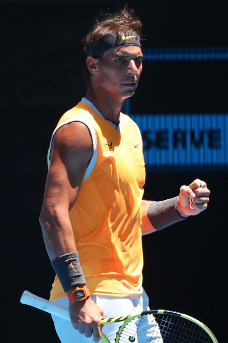 Rafael Nadal reacts in his first round match against James Duckworth of Australia during day one of the 2019 Australian Open at Melbourne Park on January 14, 2019 in Melbourne, Australia. Photo