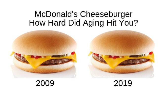 Found this 10-year-old cheeseburger in the back of the #HowHardDidAgeHitYou Photo