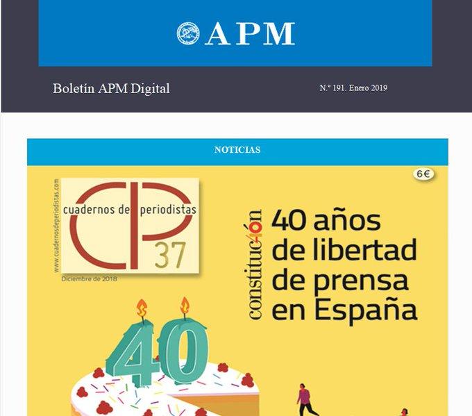 Ya está disponible el Boletín APM de enero: especial de Cuadernos de Periodistas sobre el artículo 20, comunicado Informativos Cuatro, Programa Primer Empleo, cursos de Google y Buenos días y ¡ánimos para el lunes! #FelizSemana Foto