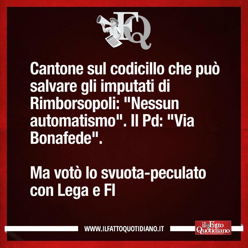 Cantone sul codicillo che può salvare gli imputati di Rimborsopoli: 'Nessun automatismo'. Il Pd: 'Via Bonafede'. Ma votò lo svuota-peculato con Lega e FI [LEGGI: https://t.co/RHnN5NCpNB] #FattoQuotidiano #14gennaio #edicola