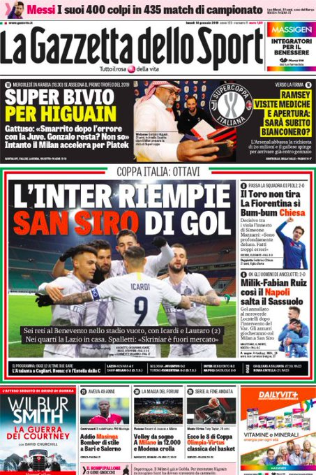 Buongiorno con le #PrimePagine e i titoli sportivi dei quotidiani in edicola oggi 🗞⬇ #14gennaio Foto