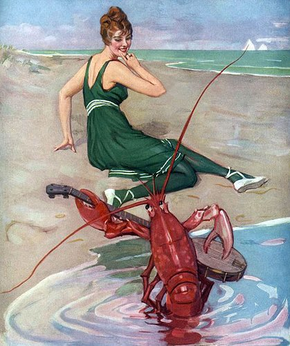 Find someone who looks at you the way this woman looks at this lobster playing a banjo. <br>http://pic.twitter.com/I0btobNrN7
