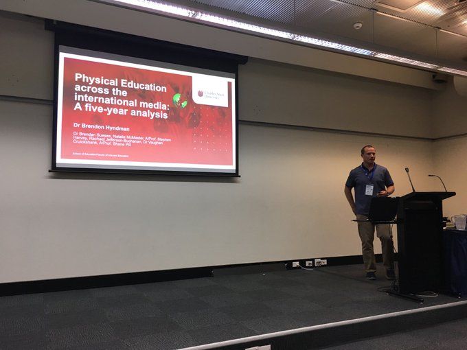 #ACHPER2019 presentation by Dr Brendon Hyndman ⁦@CharlesSturtUni⁩ on how #physicaleducation has over the last 5 years and is currently being represented in international media ⁦@ACHPERinc⁩ Photo
