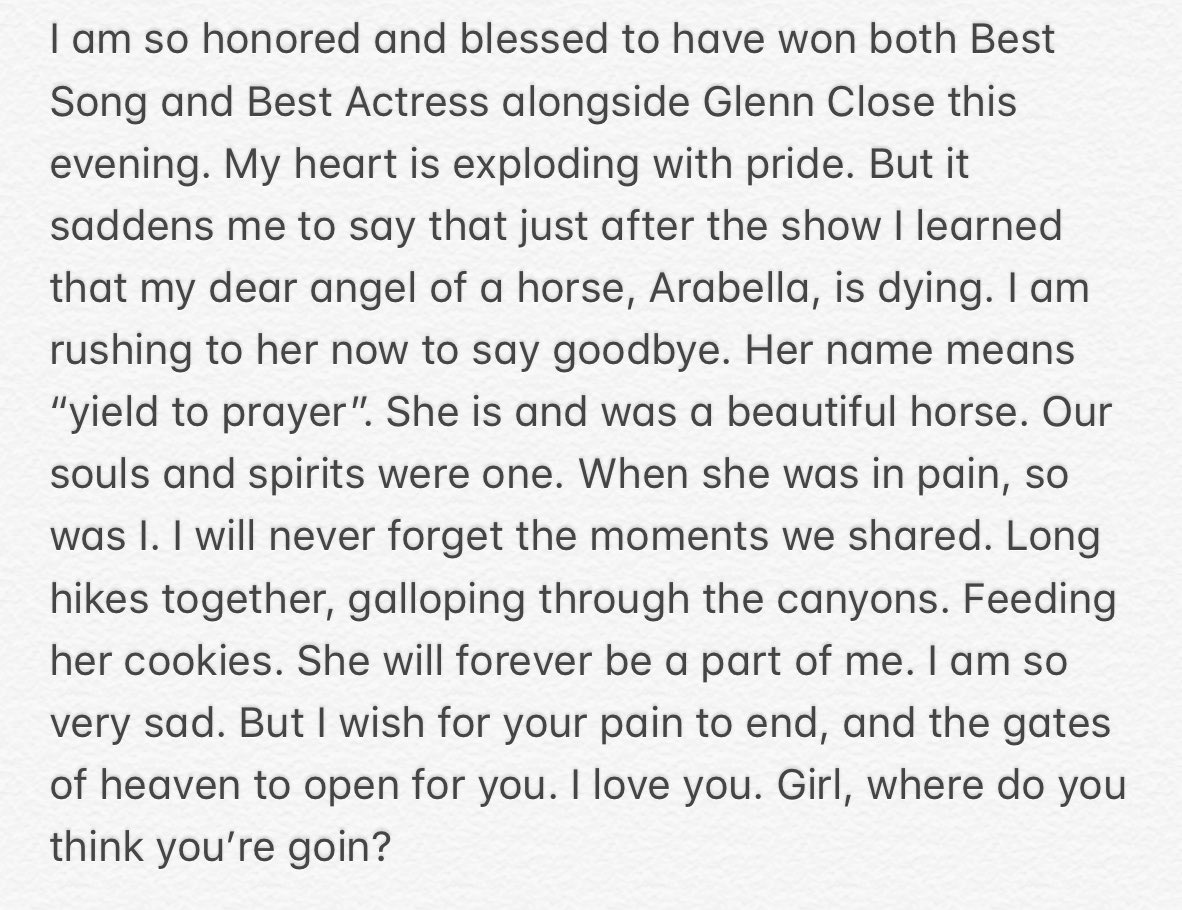 Lady Gaga Shares Emotional Tribute to Her Dying Horse