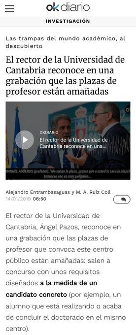 El rector de la Universidad de Cantabria @apazoscarro reconoce en una grabación que las plazas de profesor están amañadas #CasoCasares #PedroCasares Foto