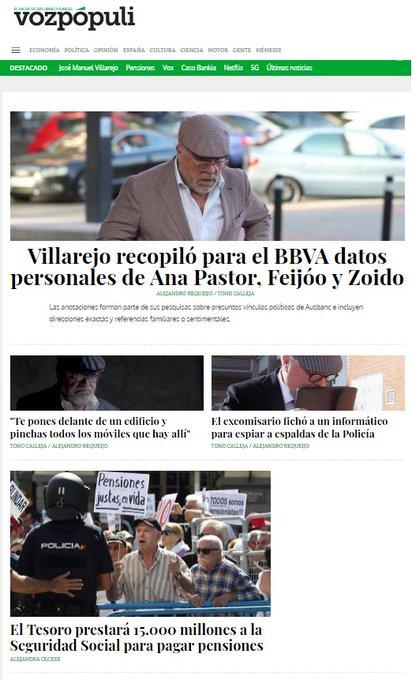 🗞 Ahora #enportada: Villarejo recopiló para el BBVA datos personales de Ana Pastor, Feijóo y Zoido 👉 Foto