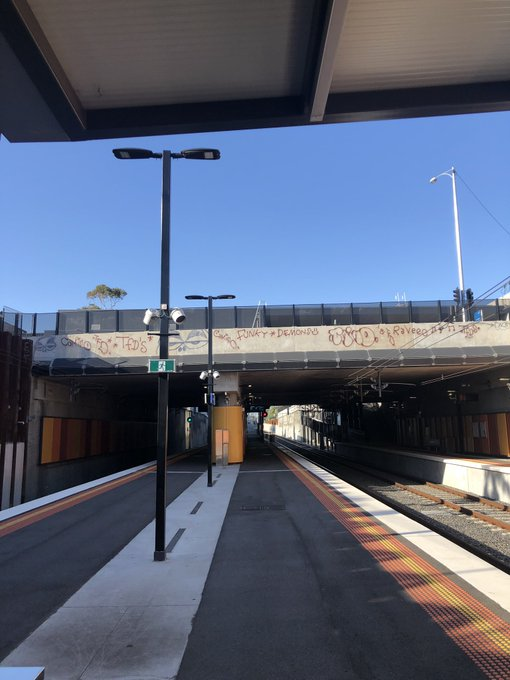 Dear @metrotrains @ptv_official pls see graffiti at McKinnon train station and schedule for removal. Thank you Photo