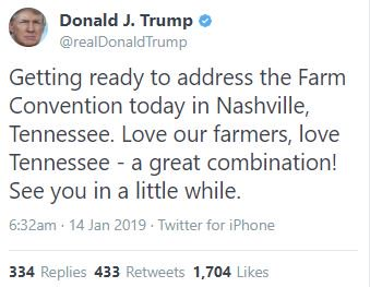 FYI: President Trump is not coming to Nashville, Tennessee today.  The Farm Bureau Convention is in New Orleans. He's since deleted the tweet.   Developments:  https://t.co/wHWuG95mFT
