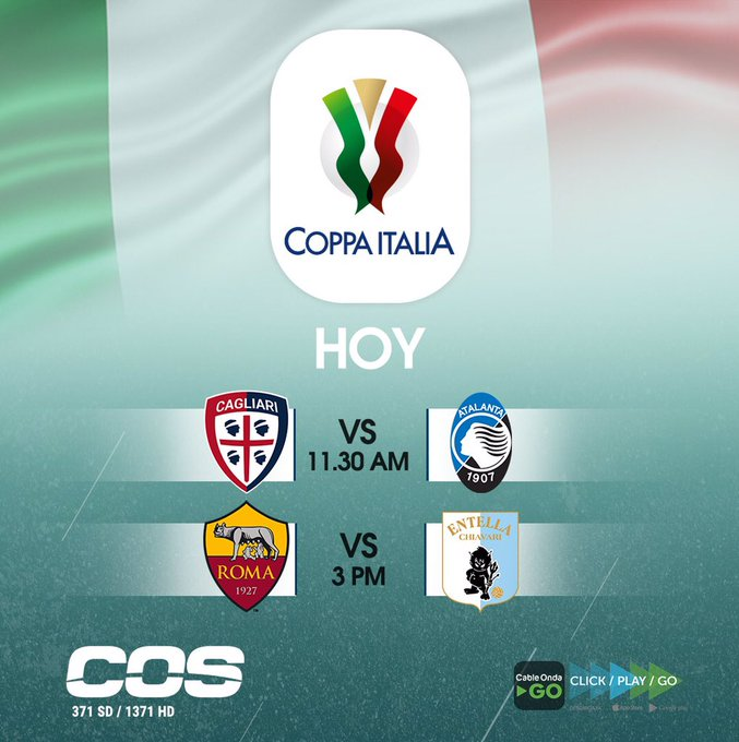 ¡Menú para hoy!🔥 #CoppaItalia 🇮🇹 ¡No te lo pierdas!😎 por #COSFC 📺. Foto