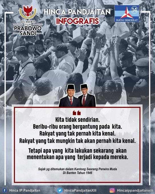 Pembukaan pidato kebangsaan @prabowo yang dikutip dari sajak perwira yang gugur di Banten 1946. Sebuah catatan yg menjadi energi bagi kami melaksanakan pertemuan malam ini #IndonesiaMenang #PrabowoSandi Photo
