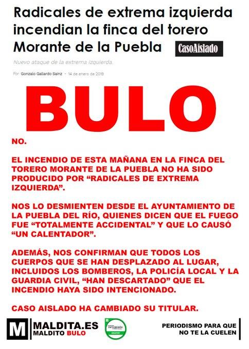 No. Radicales de extrema izquierda no han incendiado la finca del torero Morante de la Puebla. Ha sido totalmente accidental por un calentador. Hasta la web Caso Aislado ya ha cambiado titular. Foto