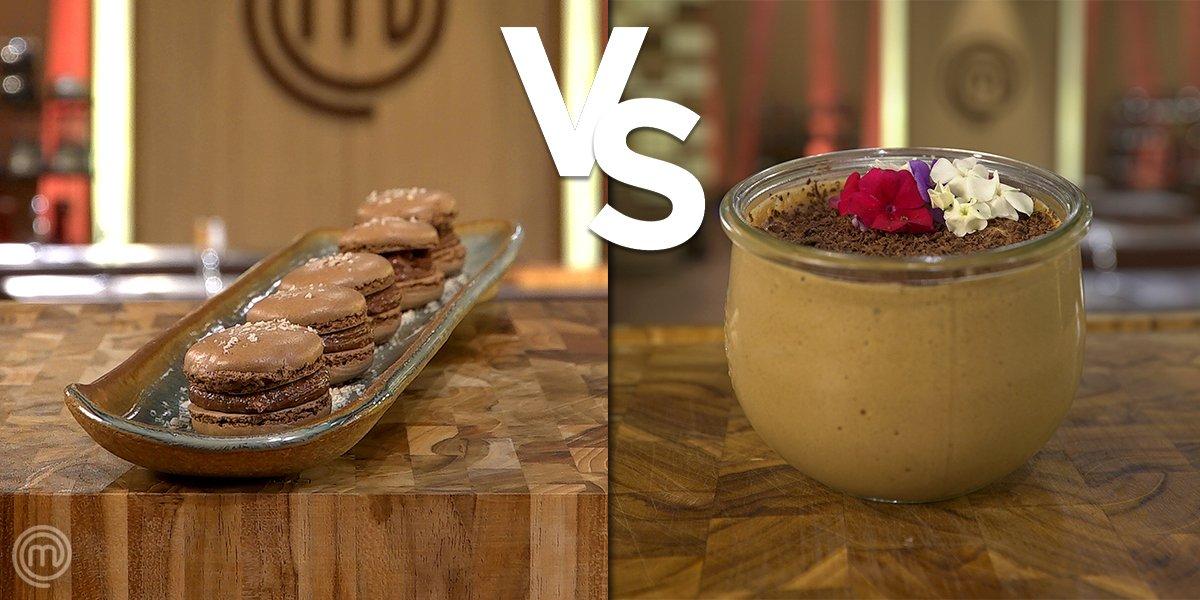 BATALHA DE #SOBREMESAS pra abrir a semana de um jeito doce! 🍫 Hoje você iria de macaron... ou mousse de chocolate? 🤔 #MasterChefBR