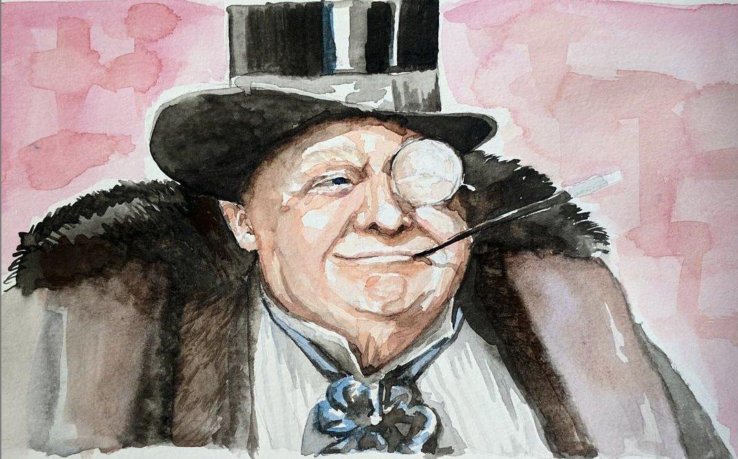 "A series of paintings I created called ""45 Villians."" 6/45 45 as Oswald Cobblepot AKA The Penguin. . #ThePenguin #Batman #OswaldCobblepot #comicvillain #villain #orangeface #artoftheresistance #45villians #45isevil #resist #watercolor #painting #potus #trump #politicalartA"