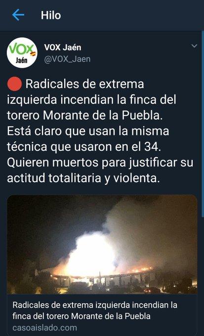 El incendio de la finca de Morante de la Puebla fue un accidente y no provocado por nadie 👇👇 Con mentiras de este tipo el fascismo justificó el golpe militar del 36 Ojo!! #FelizLunes #FelizSemana 👇👇👇 Foto