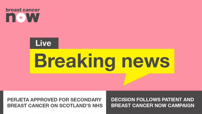 📰 Breaking News: The Scottish Medicines Consortium (SMC) has today announced its decision to approve life-extending drug Perjeta (pertuzumab) for routine use in treating secondary breast cancer on Scotland's NHS. ▸ #PerjetaNow Photo