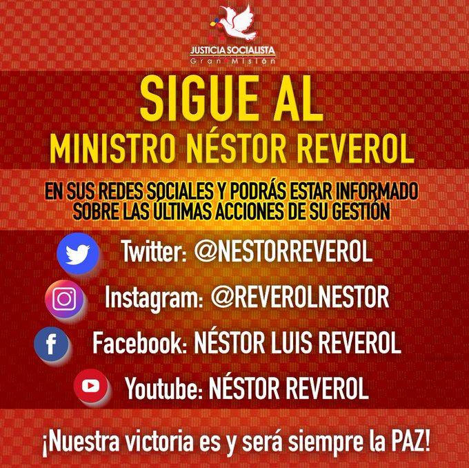 Sigue al ministro @NestorReverol a través de sus redes sociales para estar informado sobre los avances en seguridad y prevención. ¡Nuestra victoria es y será siempre la PAZ! Foto
