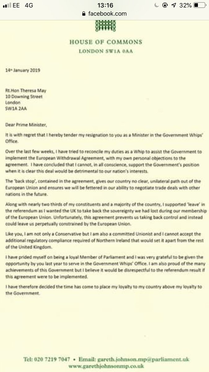 tory whip gareth johnson resigns from government because hes opposed to mays brexit deal