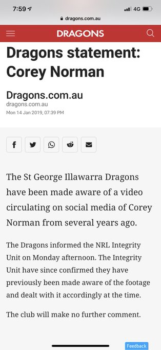 Dragons statement on Corey Norman video. Old footage that was dealt with previously. #NRL Photo