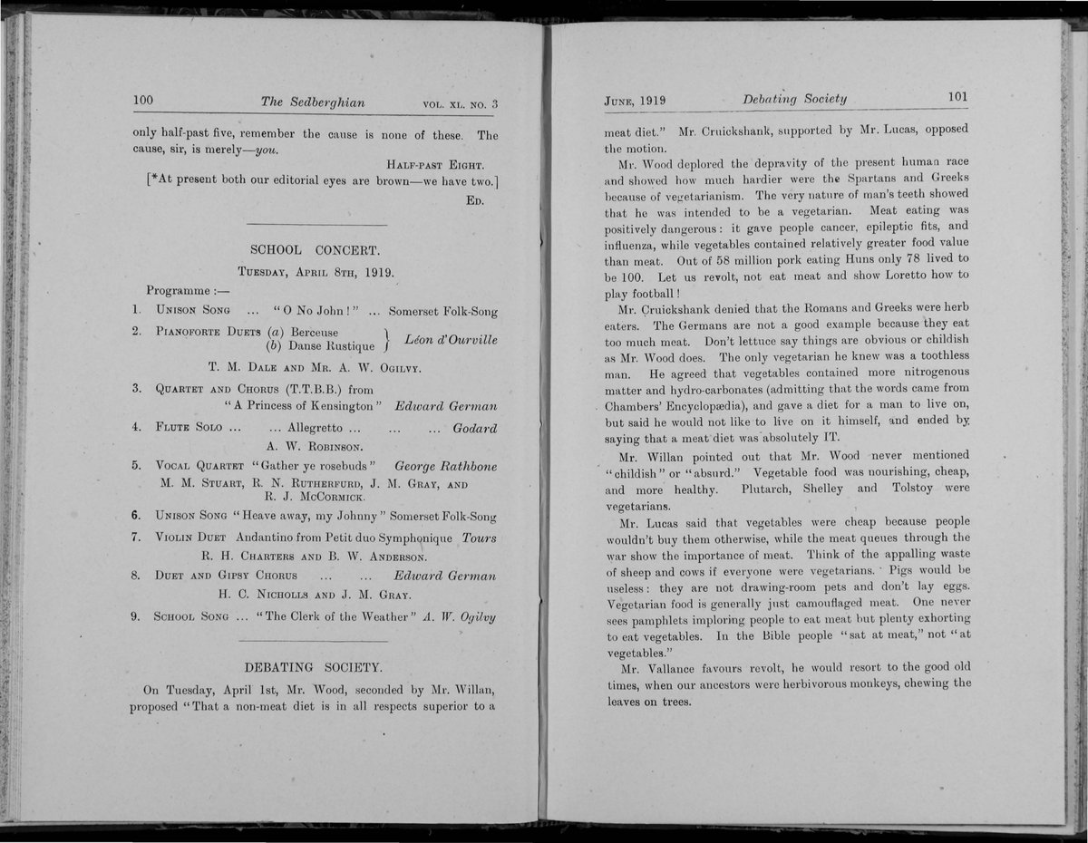 Fascinating to read that @SedberghSchool pupils were debating the merits of a meat free diet 100 years ago. The debate continues... #Veganuary <br>http://pic.twitter.com/jmW8n8wmRv