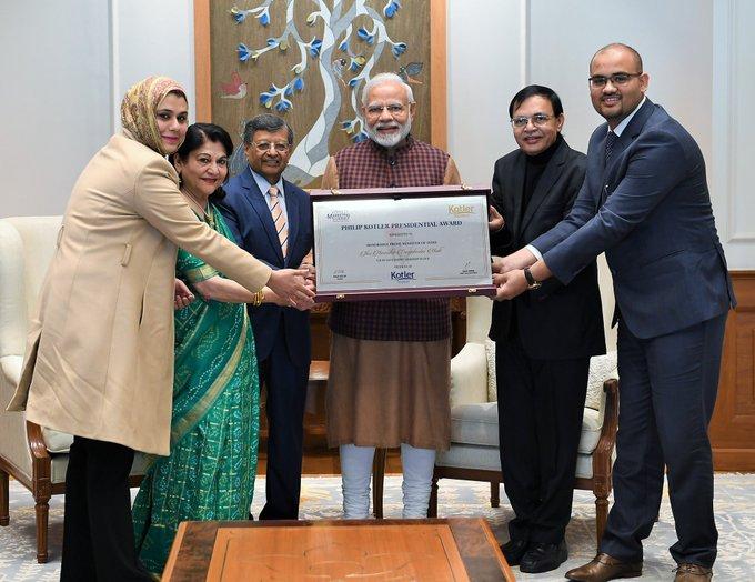PM @narendramodi receiving the first-ever Philip Kotler Presidential award in New Delhi. Photo