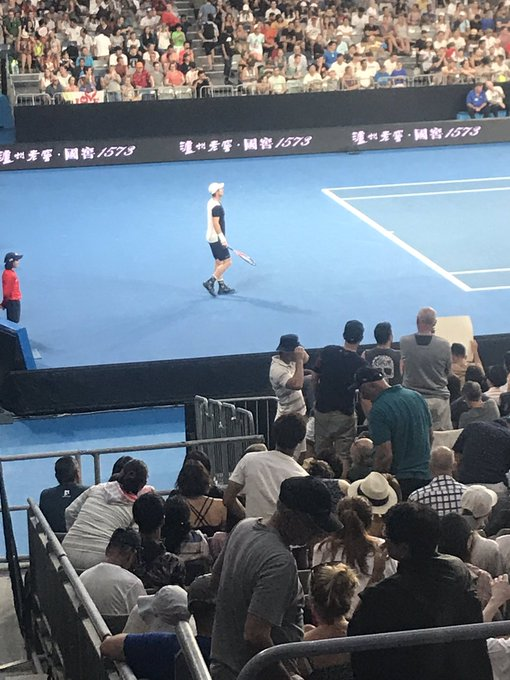 Wow can't believe I made it into the Melbourne arena to see Andy murray. Photo