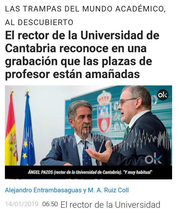 ¿Que esta gente utiliza la Universidad de Cantabria para enchufar a amigos y profesores ideológicamente afines aún siendo inútiles? Me pinchas y no sangro. Foto