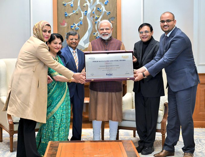 PM @narendramodi received the first-ever Philip Kotler Presidential award. The Award focuses on the triple bottom-line of People, Profit and Planet. It will be offered annually to the leader of a Nation. Photo