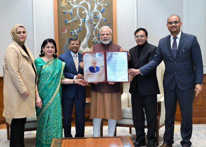 PM @narendramodi receiving the first-ever Philip Kotler Presidential award in New Delhi. Many many congratulations on your achievements sir India is grateful that you are our Prime Minister 🇮🇳🙏🚩 #PhilipKotlerPresidentialAward Photo