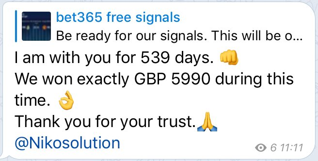 http://t.me/bet365freesignals … 👈  My free telegram channel 👋👌  Join now 😁👋💪  Retweet and comment ♥️♥️  @nikosolution   #betting #bet365 #link #RETWEEET #comment #sports #Online #live #submitted #inplay #livebetting #earn #money #tips #free #forfree