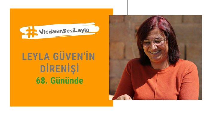 #VicdanınSesiLeyla 68 gündür, bu ülkeye barış gelsin diye direniyor. Leyla Güven'in sağlık durumu kritik ve artık saatlerin önemi var. Leyla Güven'e ve taleplerine sessiz kalamayız, sessizlik ve duyarsızlık ölümdür. Fotoğraf