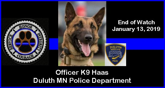 My prayers are with his handler officer, all who loved him, department, and community. 2 of his K9 classmates serve in 2 counties that border mine in Wisconsin. Sad day here in the northland. #BluePawsMatter #K9 #BlueFamilyPrays<br>http://pic.twitter.com/n4gU5aO5mF