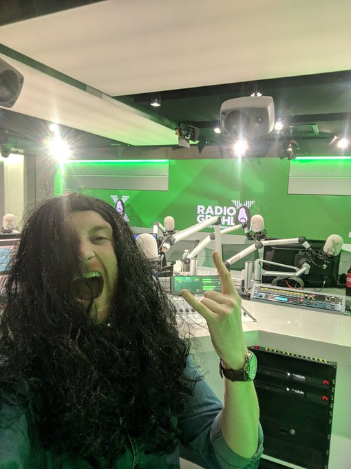 Live from the studio - this wig is staying on until #RadioGrohl Photo