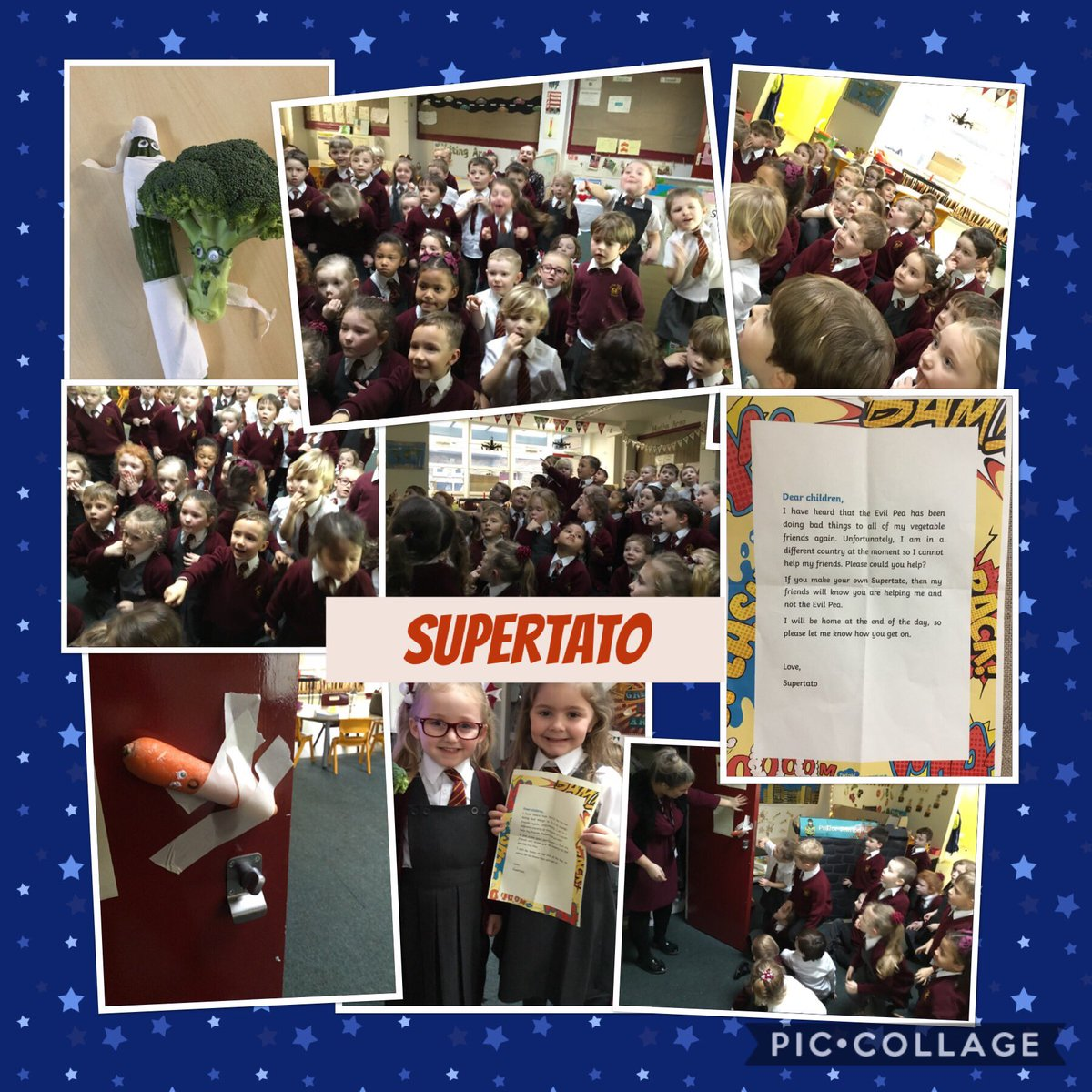 We couldn't believe our eyes! Supertato left us a note asking us to help save his friends that had been captured and tied up by the Evil Pea! We have to make our own special Supertato to help save the veggies. #EYFS   #supertato #evilpea #superheroes
