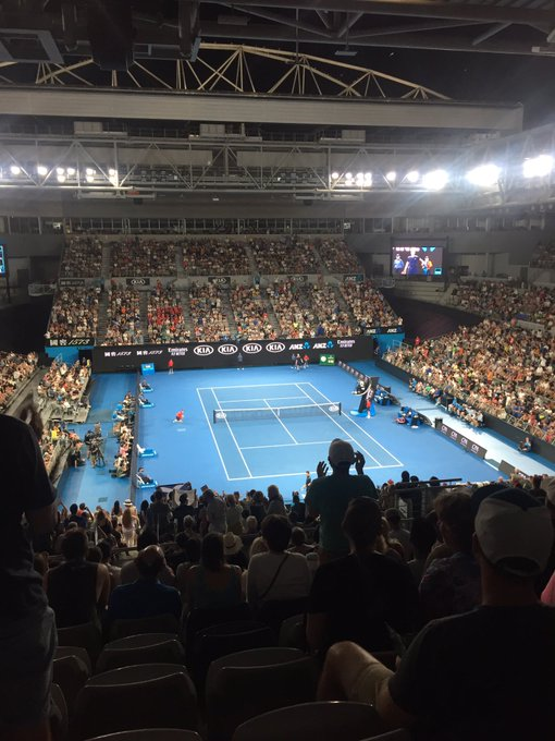 Andy Murray you bloody British legend!!!! 👊👊😃😃🎾🎾Never celebrated an opponent's unforced errors as emphatically as the last 5 minutes, delighted to have sacked off the #BBL2019 to be here! #AusOpen Photo