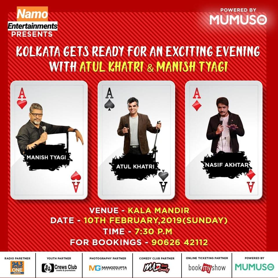 Mumuso India welcomes @KnottyCommander , @one_by_two and @nasifakhtar to make you laugh with their stand-up comedy. :D  Let Kala Mandir echo with your laughter on 10th February from 06:00 PM.   #Mumuso #StandUpComedy #AtulKhatri #ManishTyagi #NasifAkhtar #Comedy #KolkataEvents