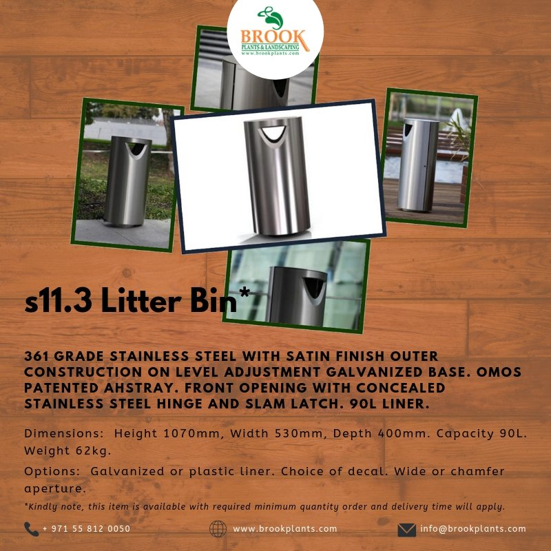 s11.3 Litter Bin* -  Check out other #streetfurniture here https://buff.ly/2Rp5nwn  For inquiries, contact us via WhatsApp at +971 55 812 0050  #dubai #furnituredesign #furnituremarket