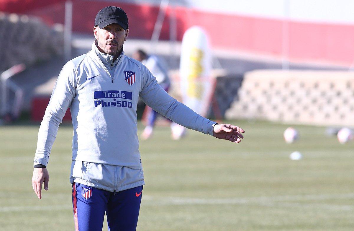 Simeone, en un entrenamiento del Atleti.
