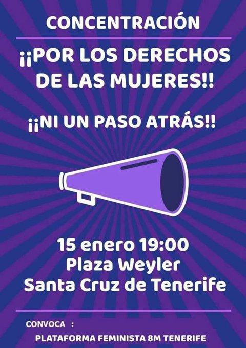 Este martes a las 19:00 en la plaza Weyler de Santa Cruz, CONCENTRACIÓN POR LOS DERECHOS DE LAS MUJERES, convocada por la @PFeminista8mTF ‼️El grupo JAIRA, Feministas del Norte está quedando a las 18:00 en la avda Luis de la Cruz y Ríos (La Orotava) para compartir transporte 🚗 Foto