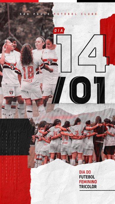Hoje acontece o primeiro treino na temporada da categoria principal feminina e, com isso, o São Paulo reconhece e legitima o dia 14 de janeiro como a data oficial do Futebol Feminino Tricolor. Você pode ler o nosso manifesto na íntegra por aqui: Foto
