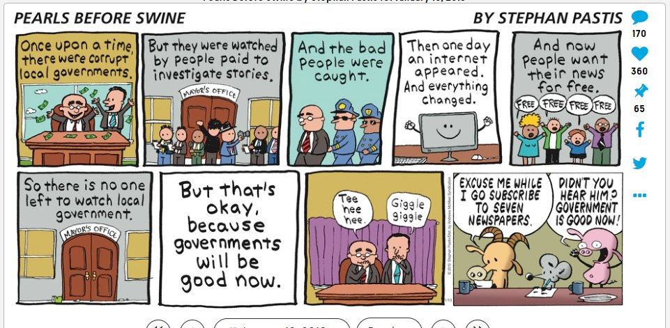 This comic pretty much nails what's happened to newspapers. https://t.co/7geTCuPmRV via @GoComics https://t.co/pM1auKpMOF
