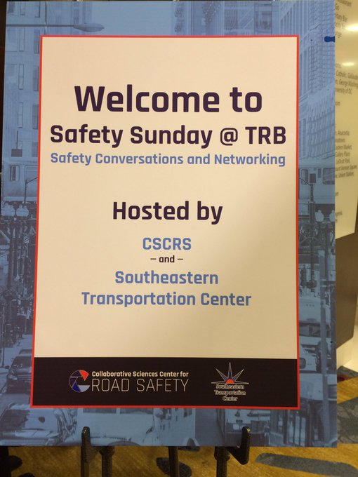 Thanks to everyone who came to Safety Sunday @ TRB last night. Despite the DC snow & slush, we had a great turnout of people excited to talk about transportation safety. Thx to @UTKCTR for co-hosting! #TRBAM Photo