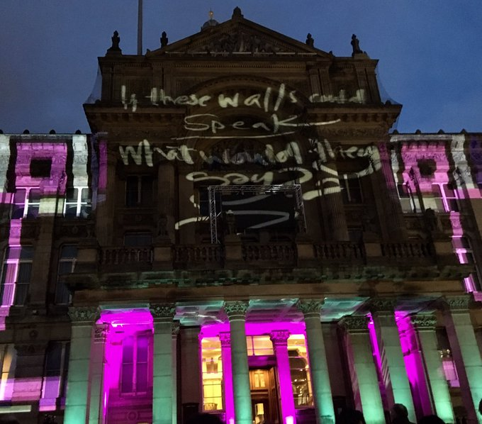 Happy birthday Brum! City of 1000 trades, city of 1000 cultures. Celebrating 130 years as a city with light projections & live drawing by @aerosolali @BhamWeekender #Brum130 Photo