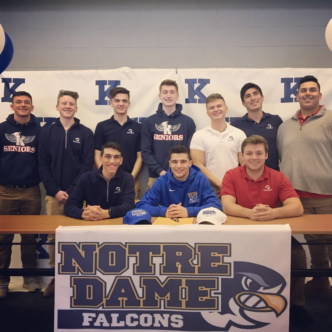 We are so proud of Jimmy Graham! He signed his Letter of Intent to play Golf at @NotreDameOhio this morning! A great event, surrounded by family and friends. The Kennedy Family wishes Jimmy the best of luck and much future success! #BluePride #GoFalcons<br>http://pic.twitter.com/Z6myMNR6ps