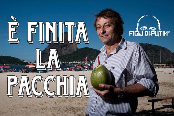 Dalle assolate spiagge carioca al carcere di #Oristano. #CesareBattisti ride bene chi ride ultimo. La pacchia acabou. (Meme di @FiglidiPutin) Foto
