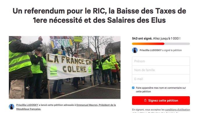 Priscillia Ludosky lance une nouvelle pétition, qui correspond aux revendications de son groupe de gilets jaunes depuis plusieurs semaines: «Un referendum pour le RIC, la Baisse des Taxes de 1ere nécessité et des Salaires des Elus» Photo