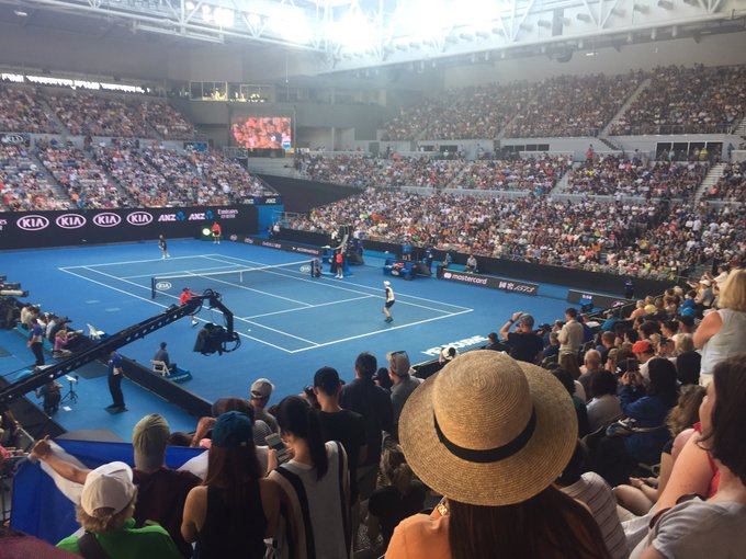 Delighted to have been in the Melbourne Arena to see Andy play. What an inspirational guy. There were tears! #AustralianOpen2019 #Muzza Photo